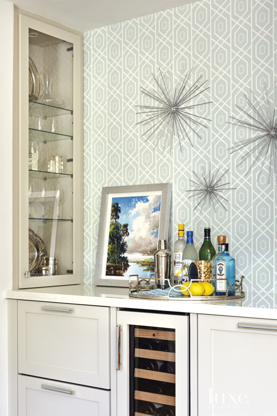 Eclectic Cream Bar Area with Silver Accents