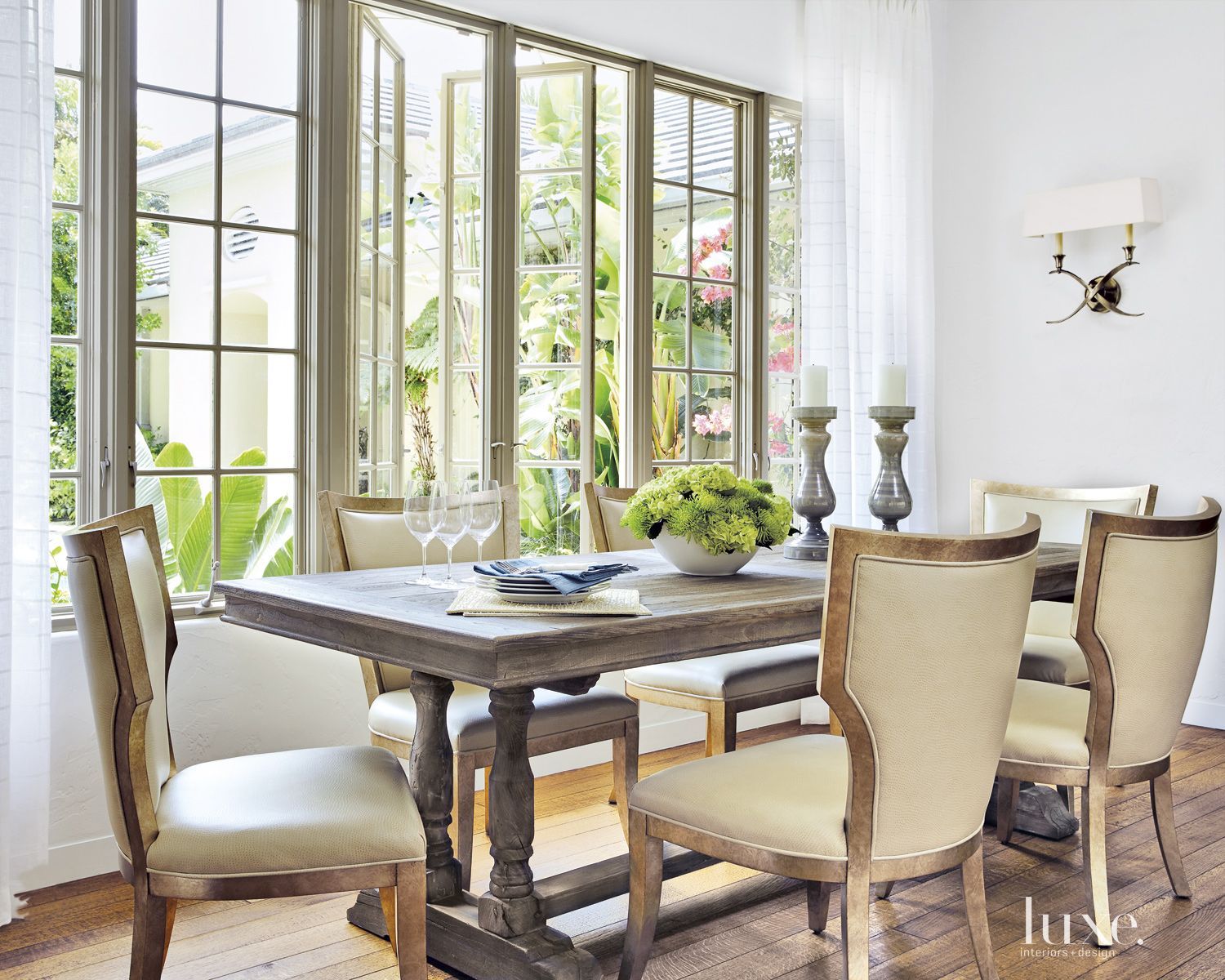 Traditional White Dining Room with Trestle Table
