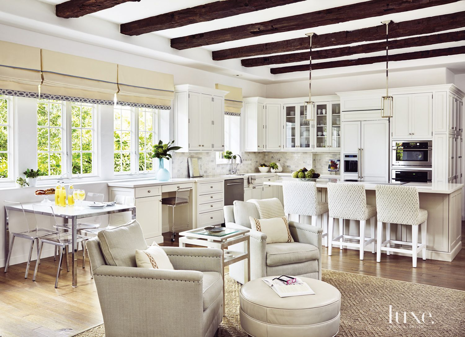 Traditional White Kitchen with Polished-Quartz Countertops