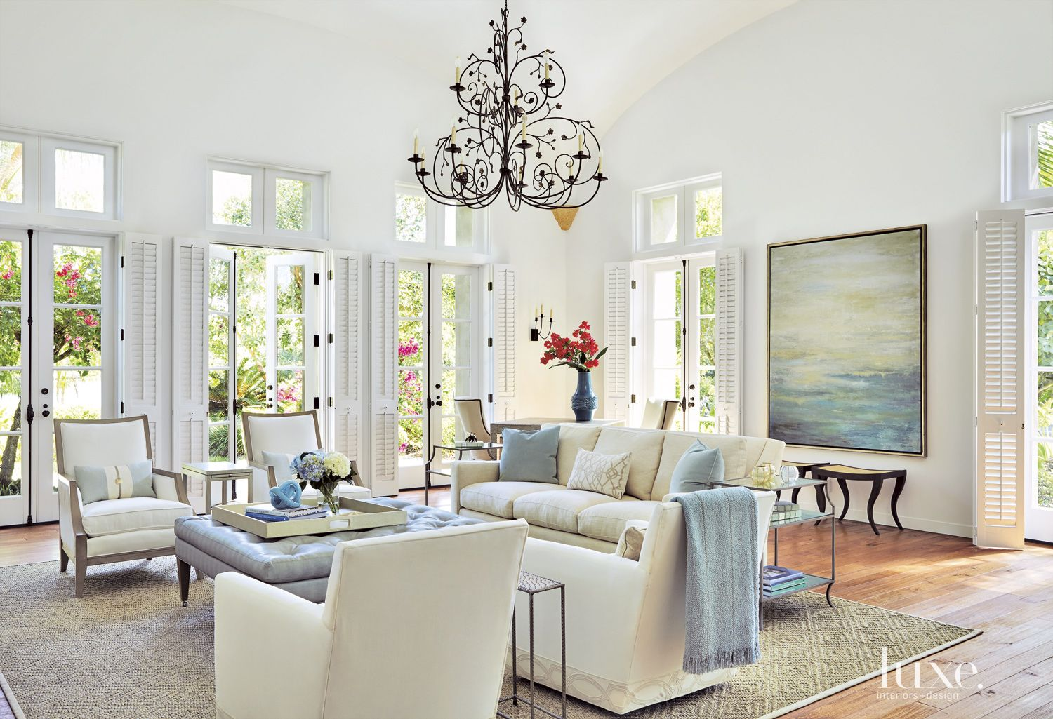 Traditional White Living Room with Pale Accents