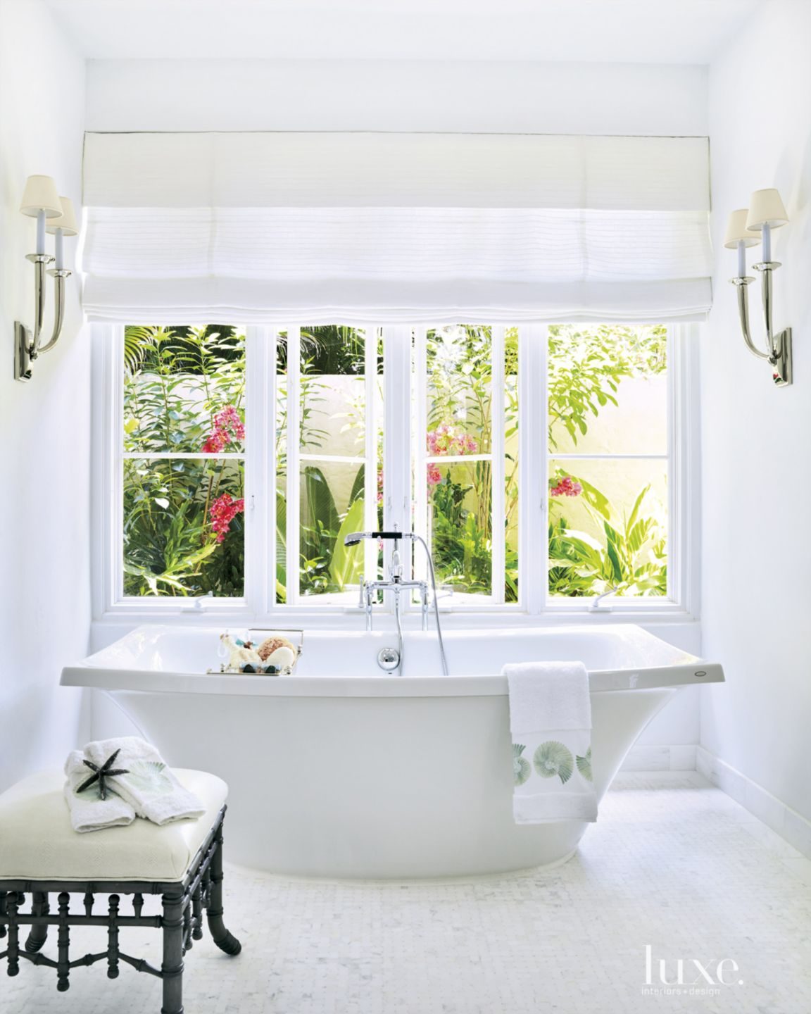 Traditional White Master Bath with Freestanding Tub