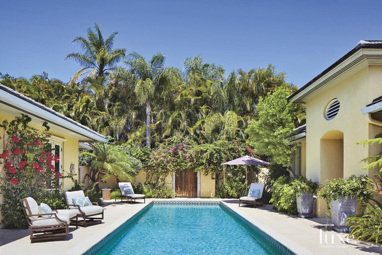 Modern Backyard Pool Area with Bougainvillea