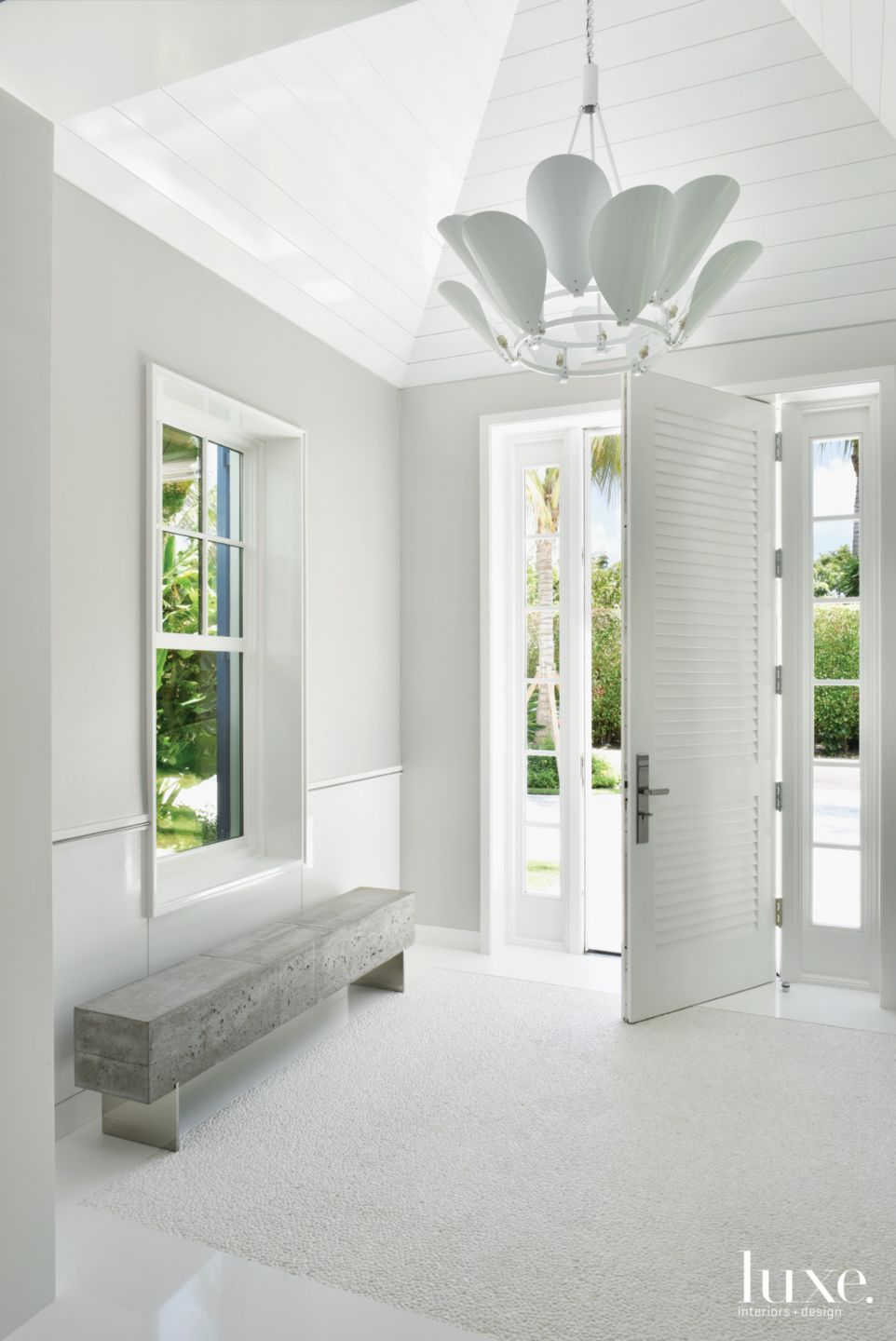 Contemporary White Entry with Custom Door
