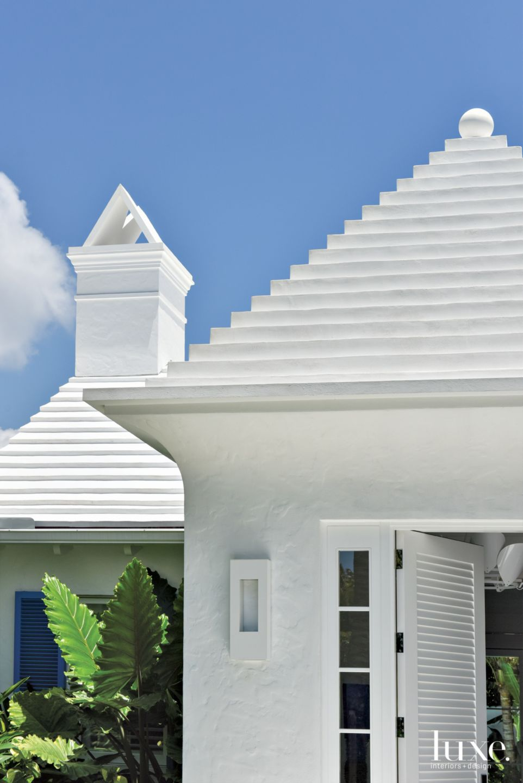 Contemporary White Stucco Exterior Roof Detail