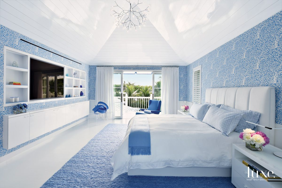 Contemporary Blue and White Master Bedroom with Vaulted Ceiling