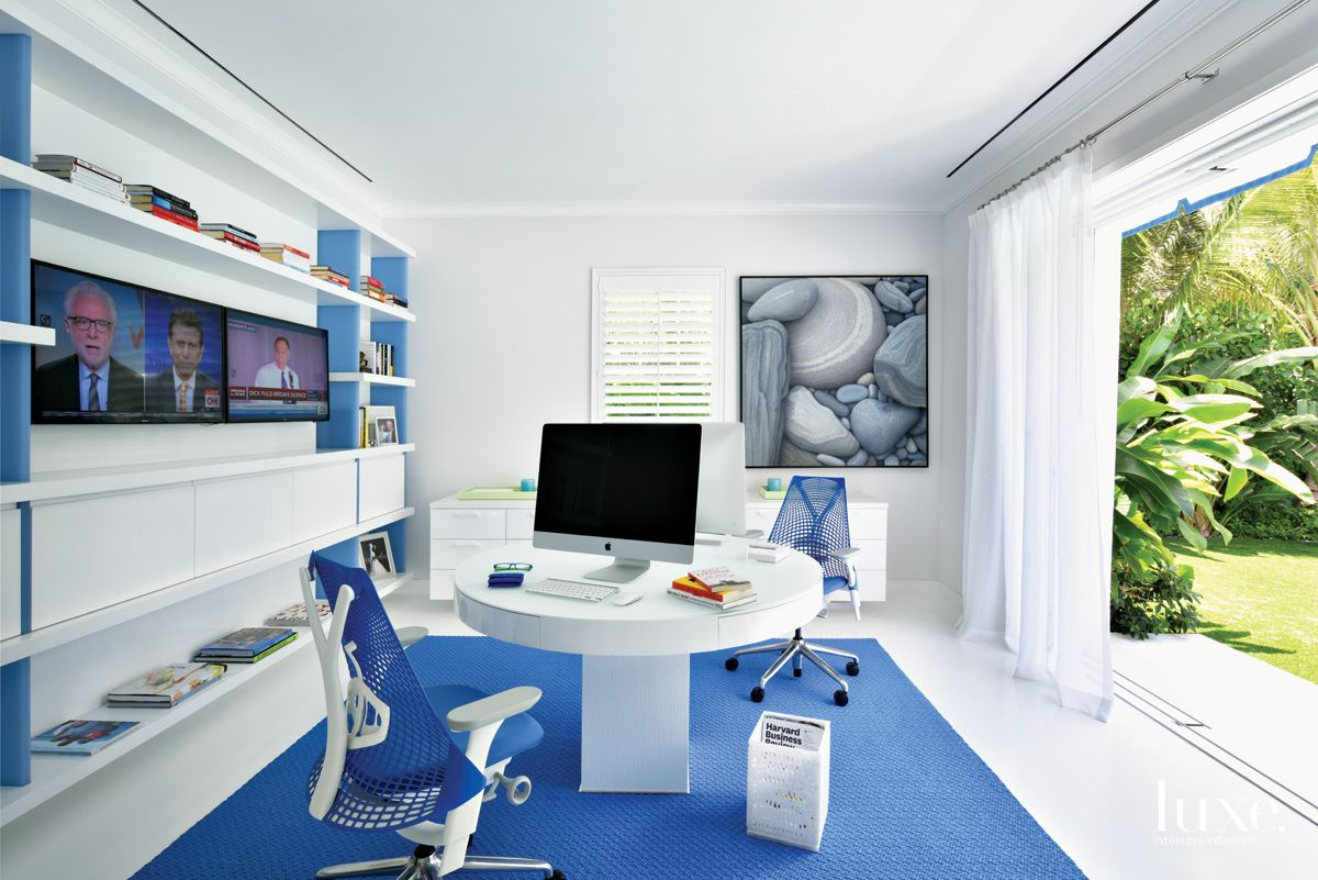 Contemporary White Office with Custom Shelving