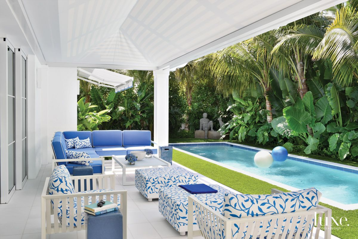 Contemporary White Loggia with Lap Pool