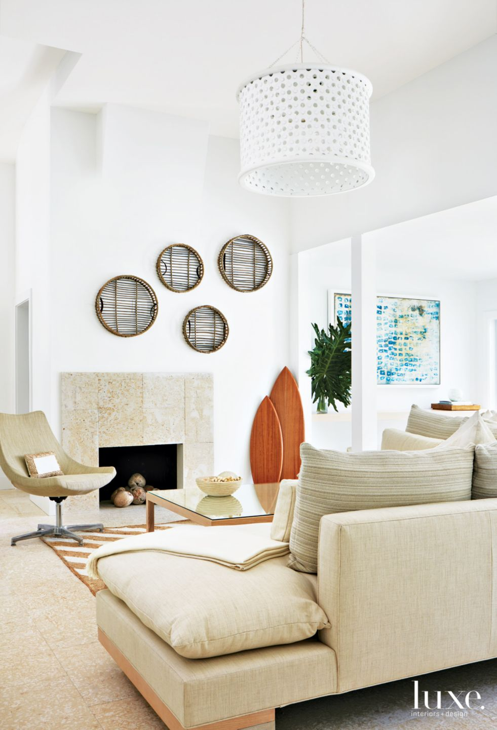 Modern White Living Room with Coastal Influences