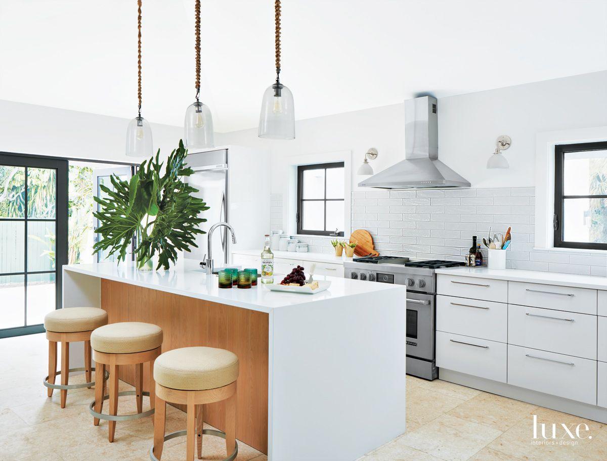 Modern White Kitchen with Pendant Trio