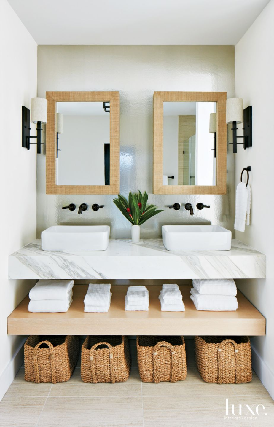 Modern White Master Bathroom with His-and-Hers Mirrors