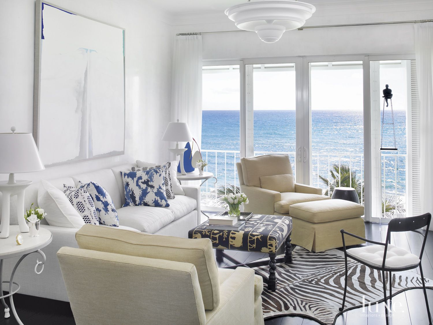 Eclectic White Family Room with an Ocean View