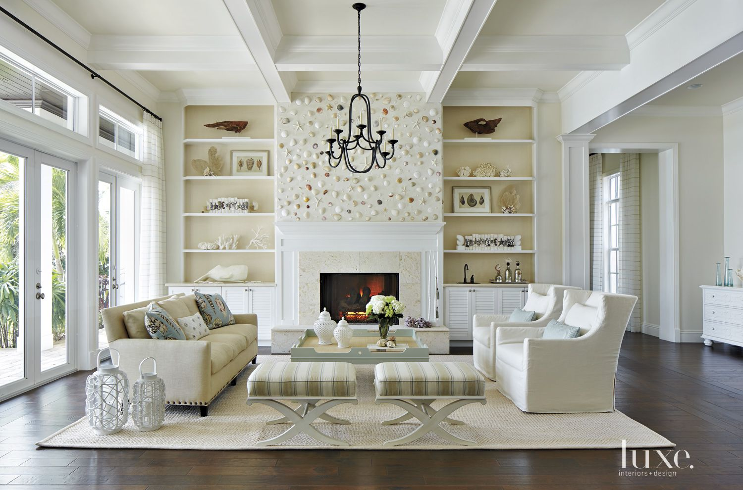 Eclectic White Living Room with Shell Feature Wall