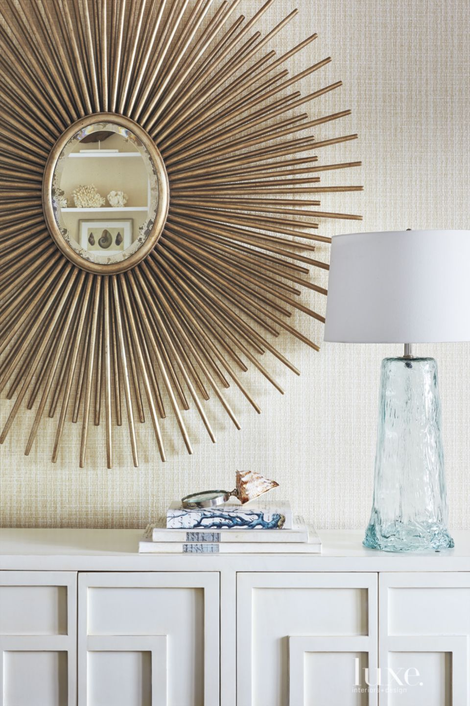 Eclectic White Dining Room Wall Detail