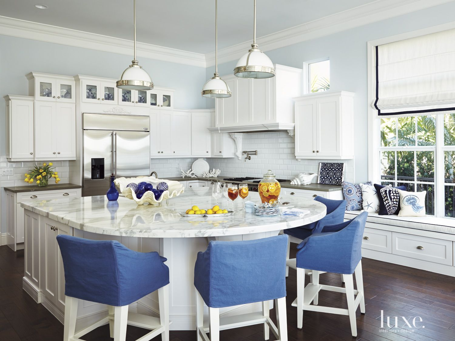 Contemporary White Kitchen with Blue Accents