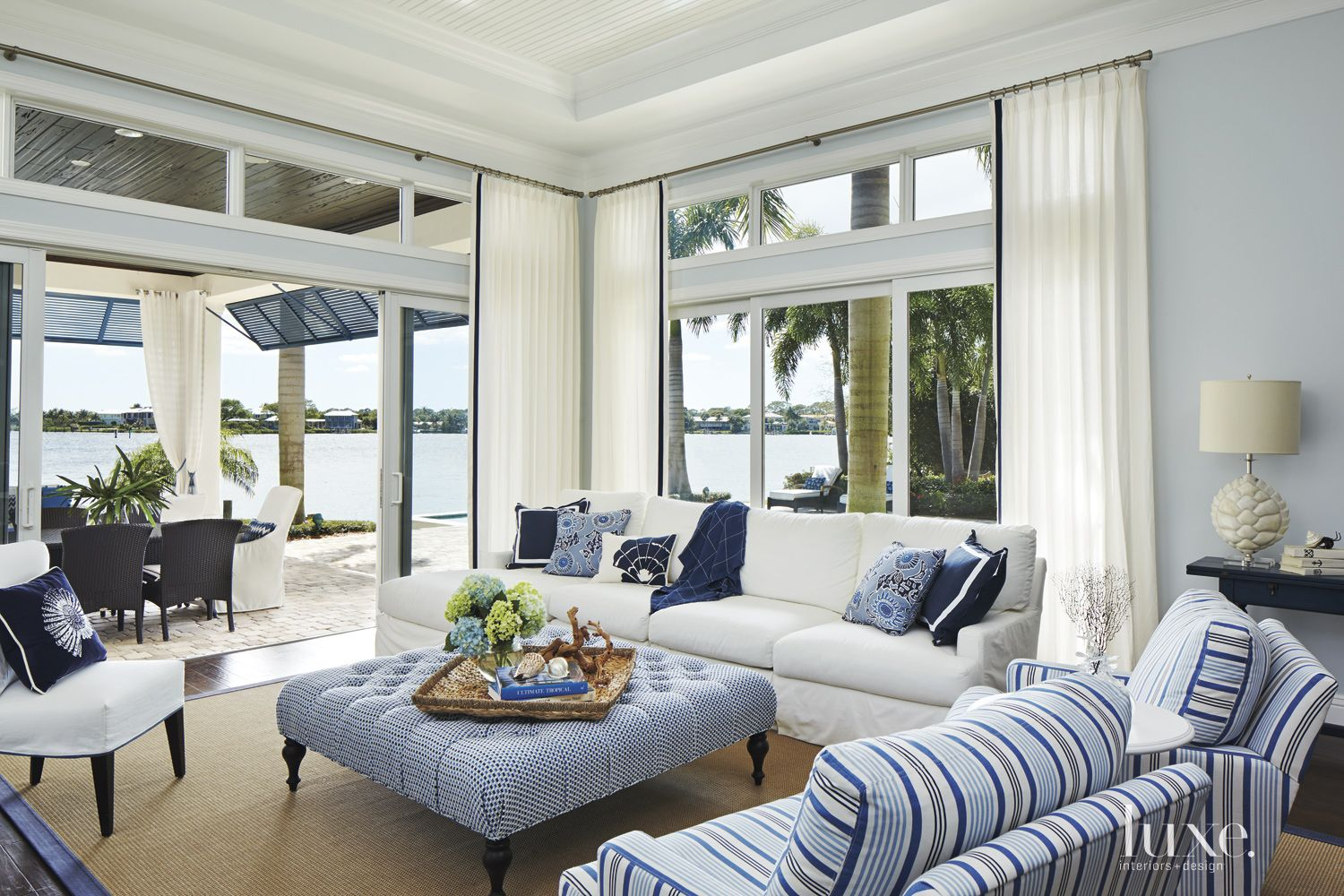 Contemporary Blue Indoor-Outdoor Family Room