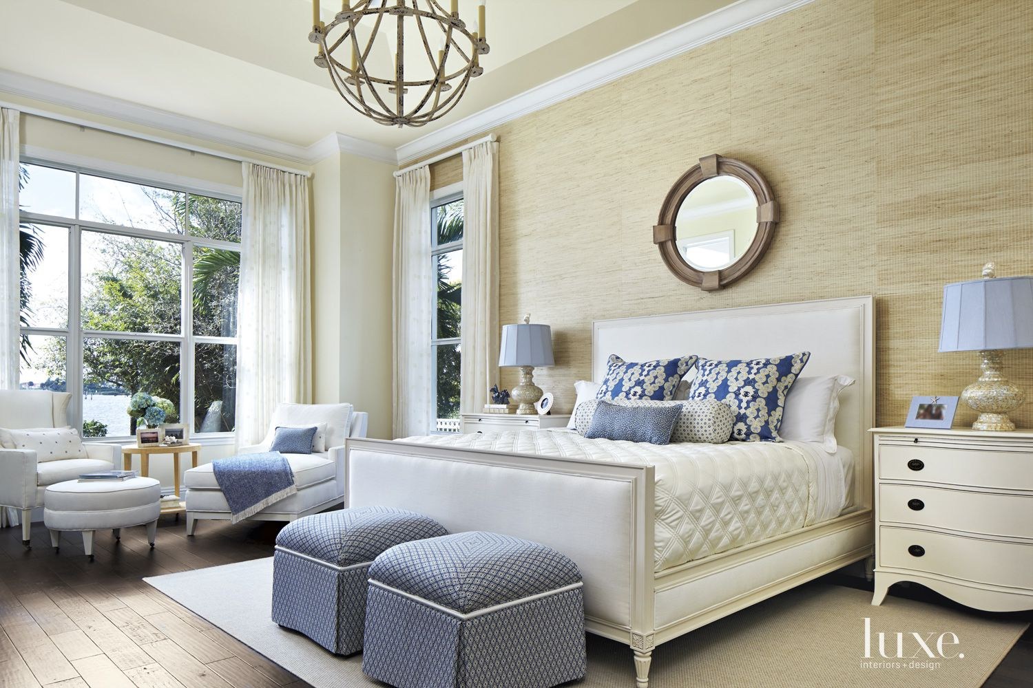Contemporary Blue-Accented Master Bedroom