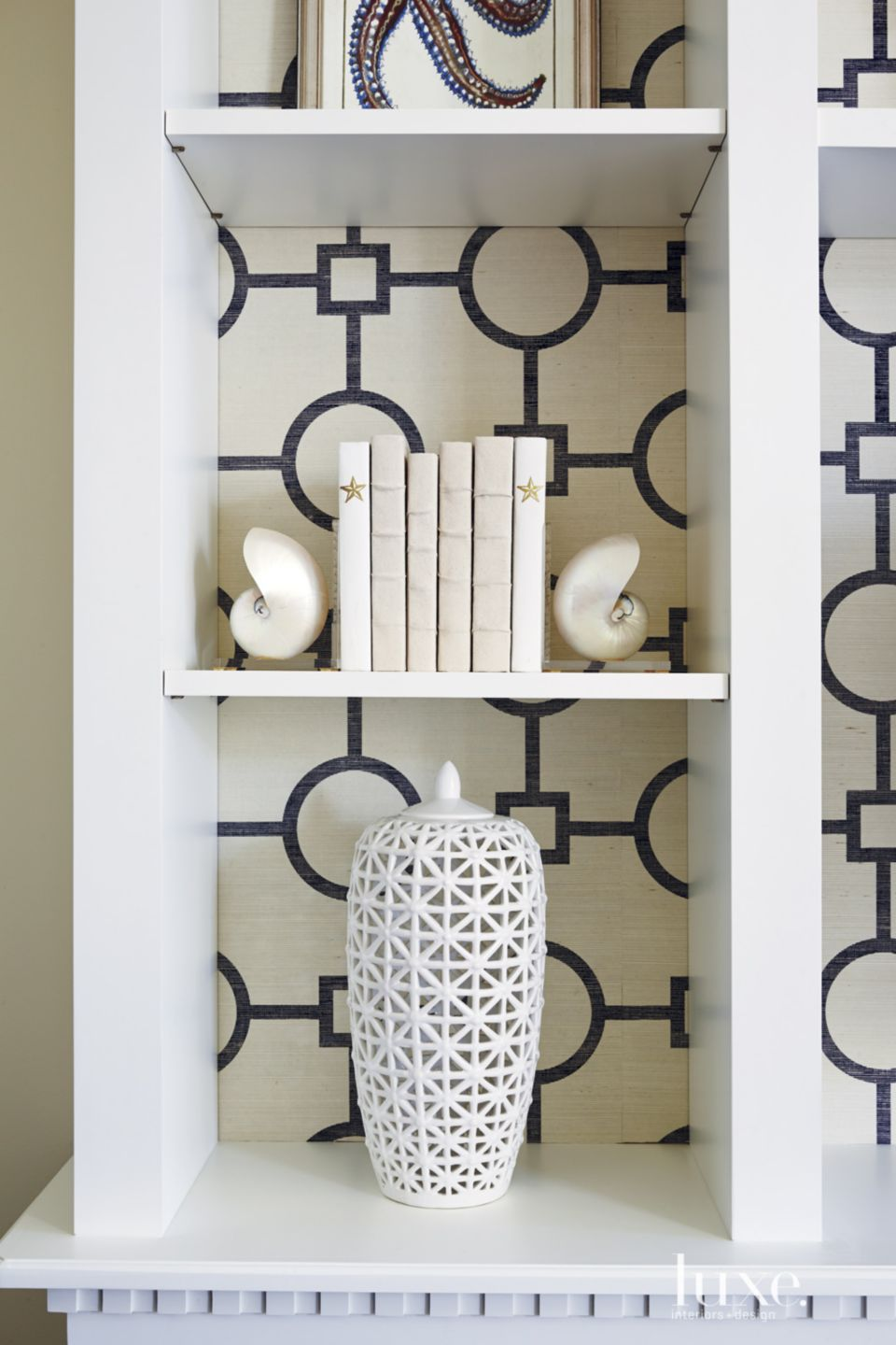 Eclectic White Bedroom Cabinet Detail