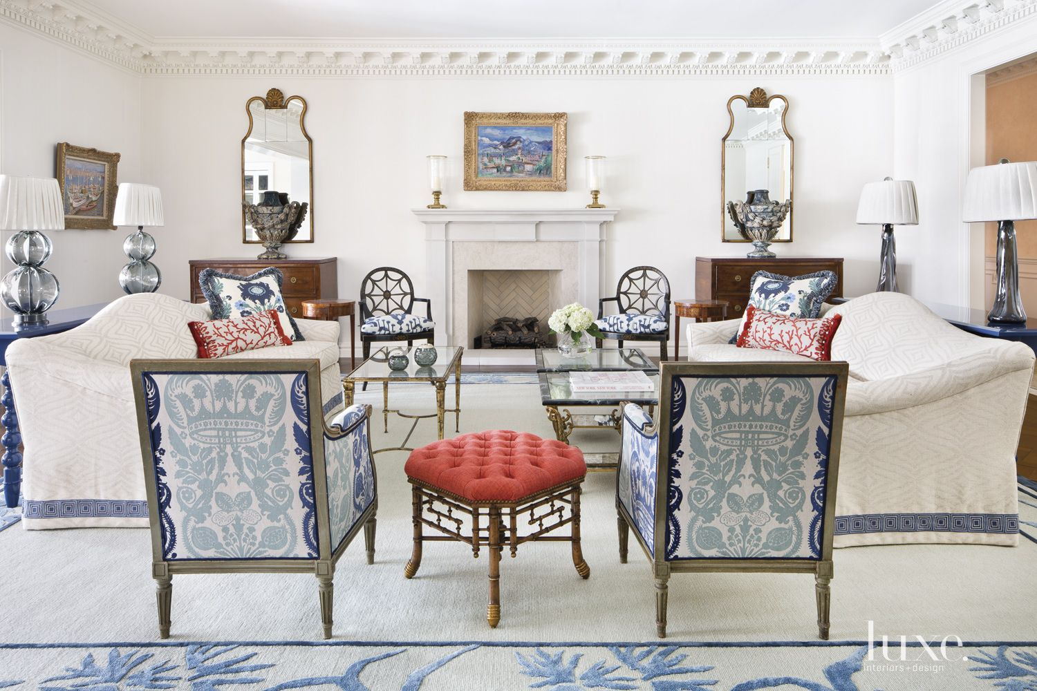 Traditional White Living Room with Crown Molding