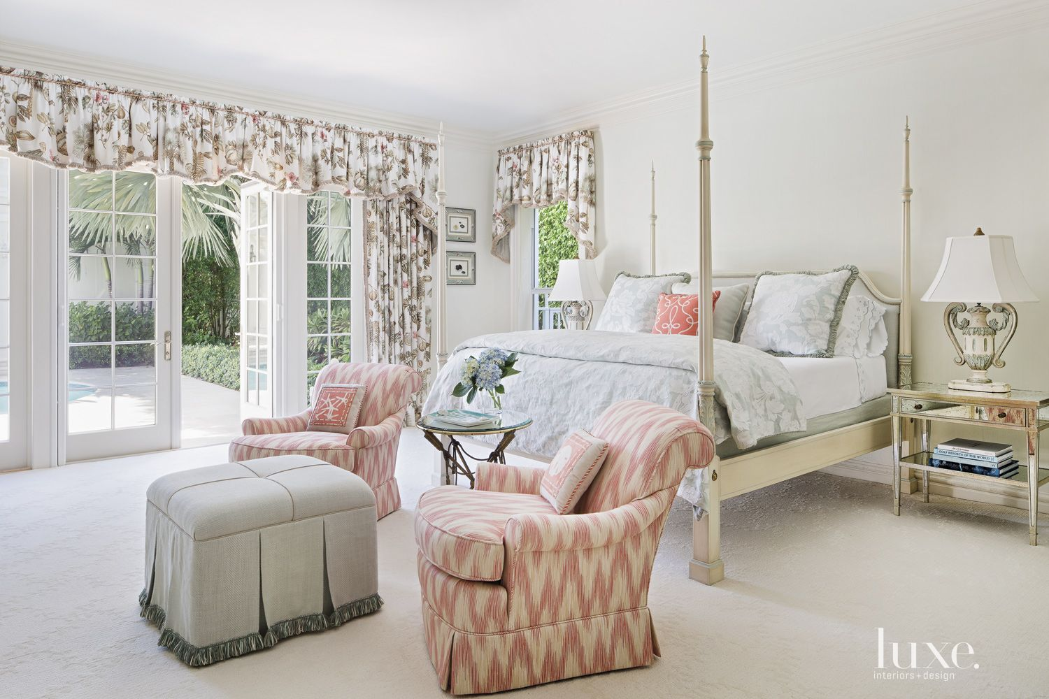 Traditional White Master Bedroom with Pool Deck