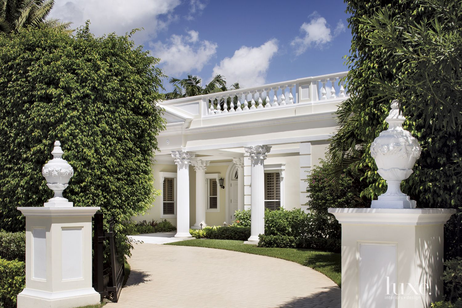 Traditional White Front Exterior with Columns