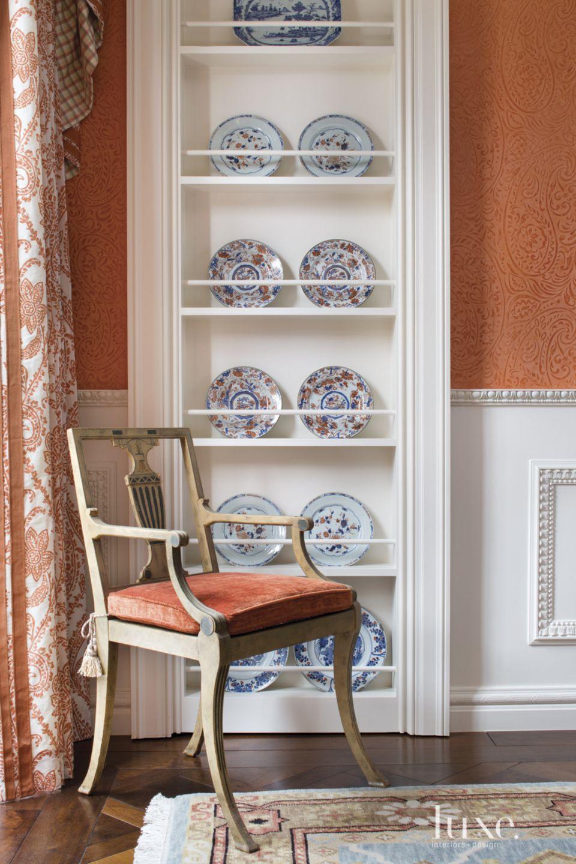 Traditional Orange Dining Room Vignette