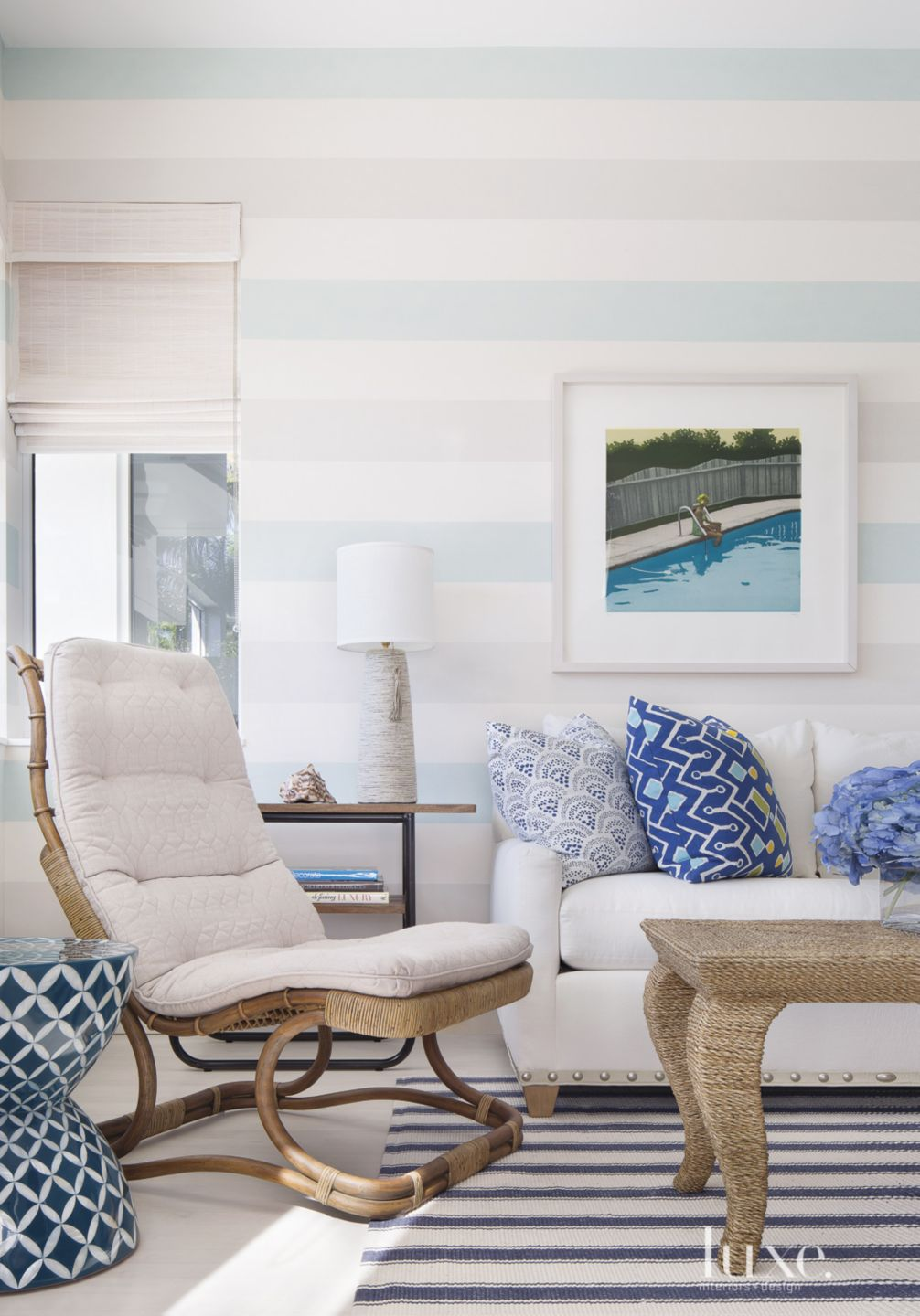 Eclectic Blue Striped Office Seating Vignette