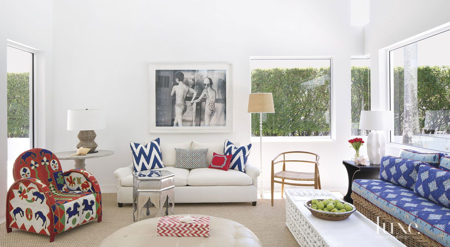 Eclectic White Living Room with Sisal Carpet
