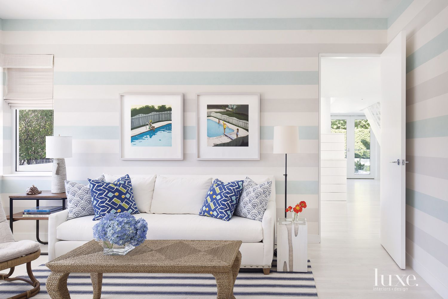Eclectic Blue Striped Office Seating Area