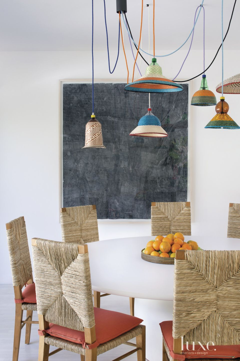 Eclectic White Family Room Dining Area