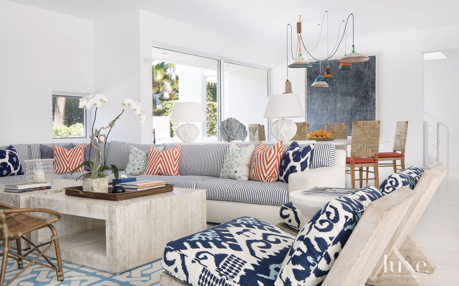 Eclectic White Family Room