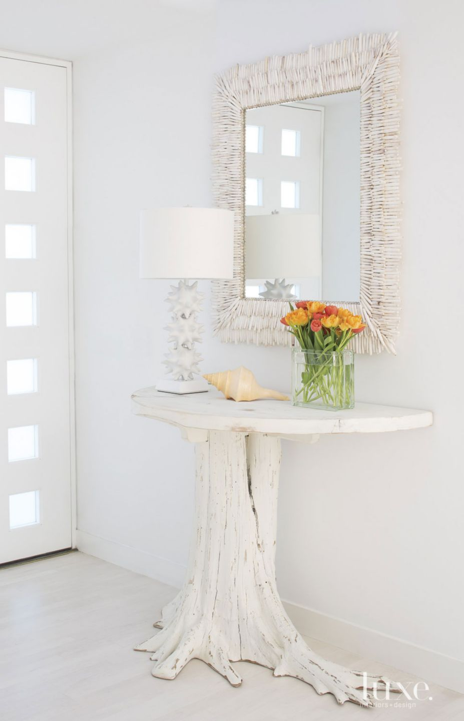 Eclectic All-White Foyer