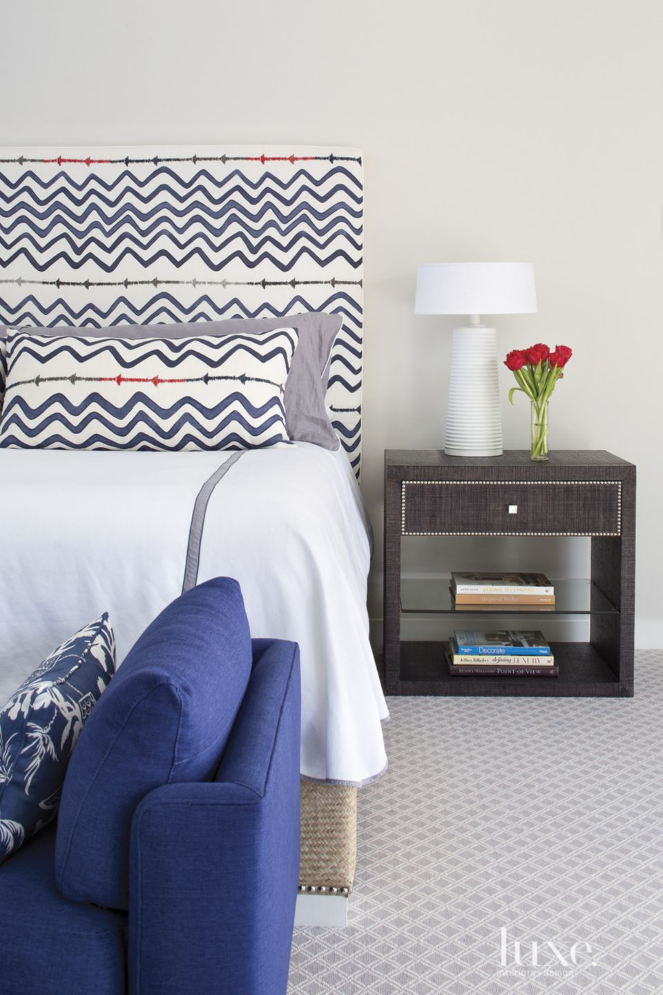 Eclectic Blue Striped Headboard with Flowers