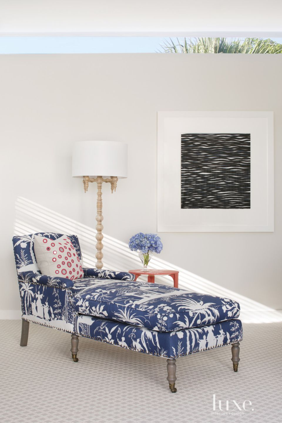 Eclectic White Master Bedroom Chaise