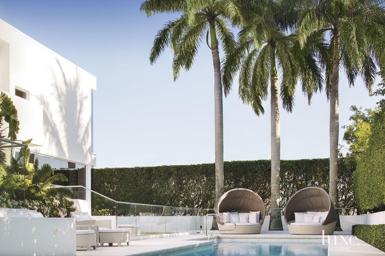 Modern White Poolside Terrace