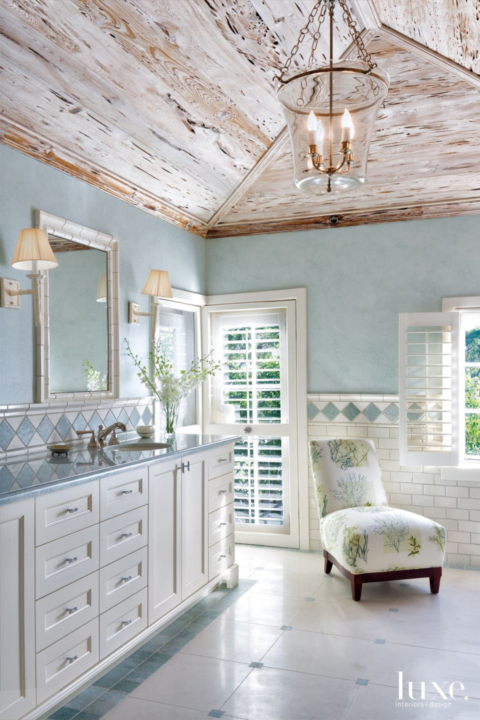Traditional Blue Master Bathroom with Pale Blue Walls
