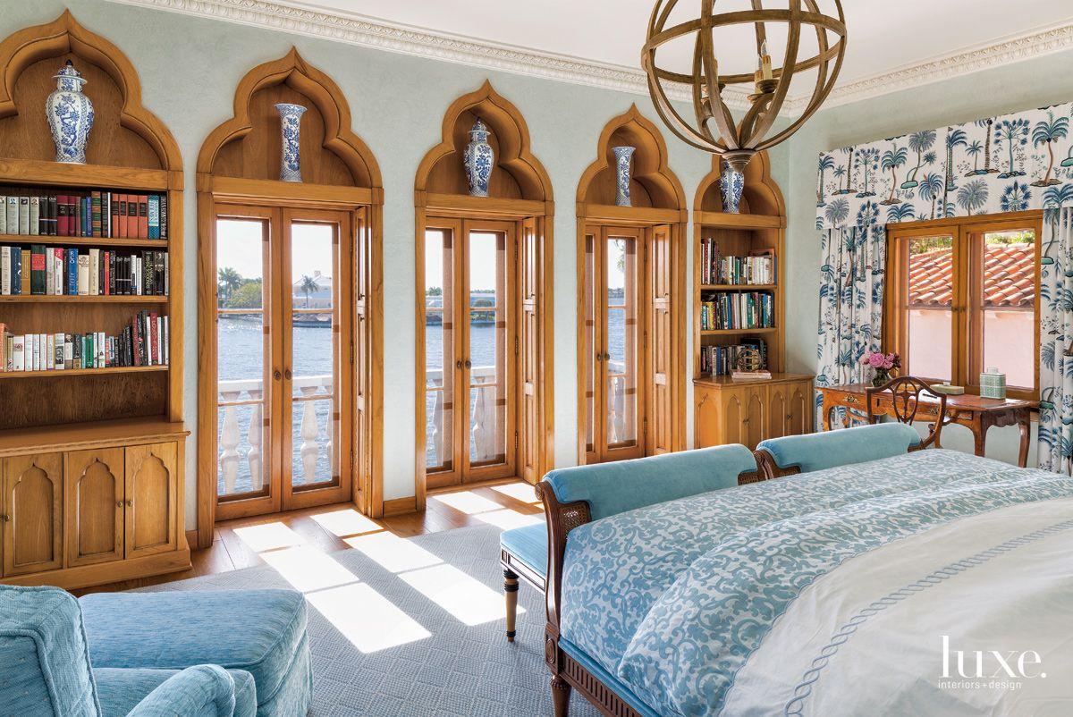 Traditional Blue Master Suite with Moorish Influences