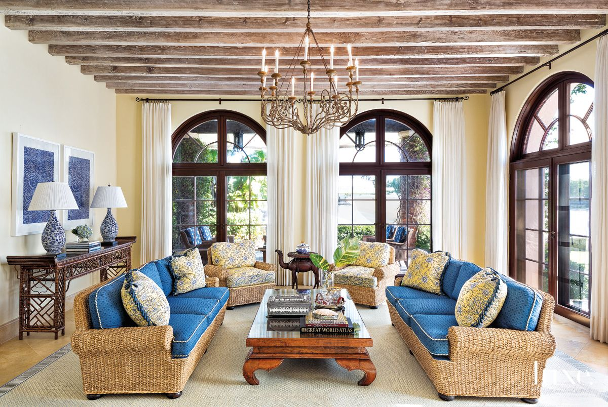Traditional Yellow Guesthouse Family Room with Mahogany Doors