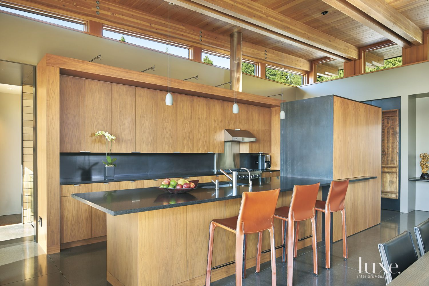 Contemporary Neutral Kitchen with Black Granite Countertops