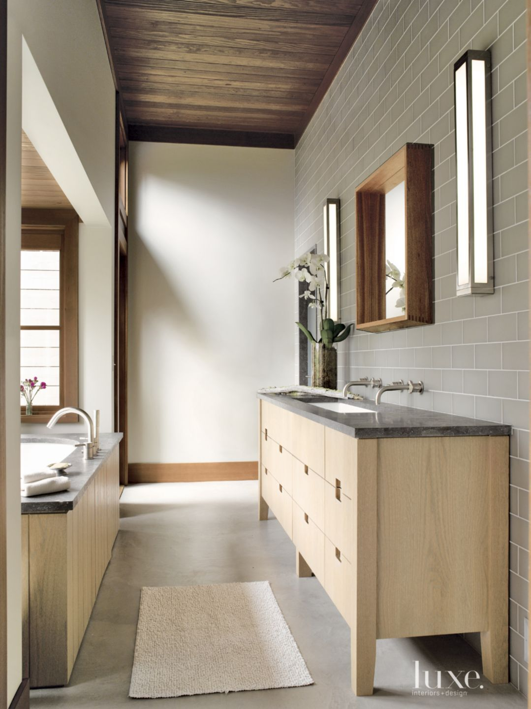 Mountain Master Bath with Gray Tiled Wall