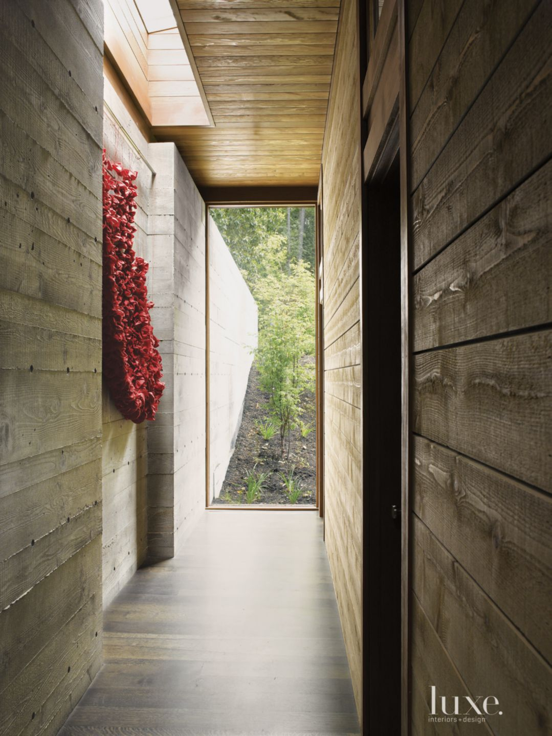 Neutral Mountain Cedar Sided Hallway