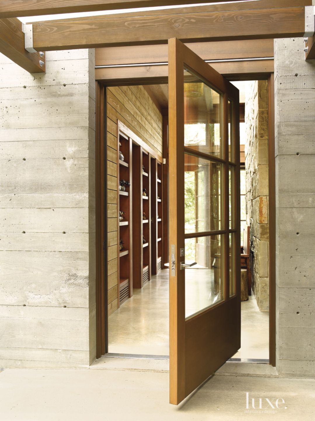 Wooden Mountain Pivot Entry Door
