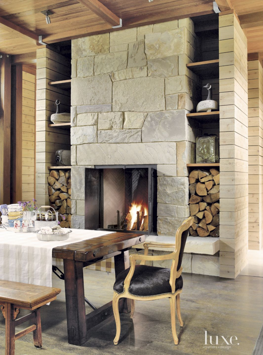Neutral Mountain Dining Room Display Shelves