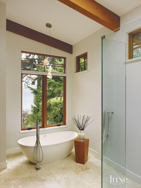 Contemporary White Bathroom with Ocean Views