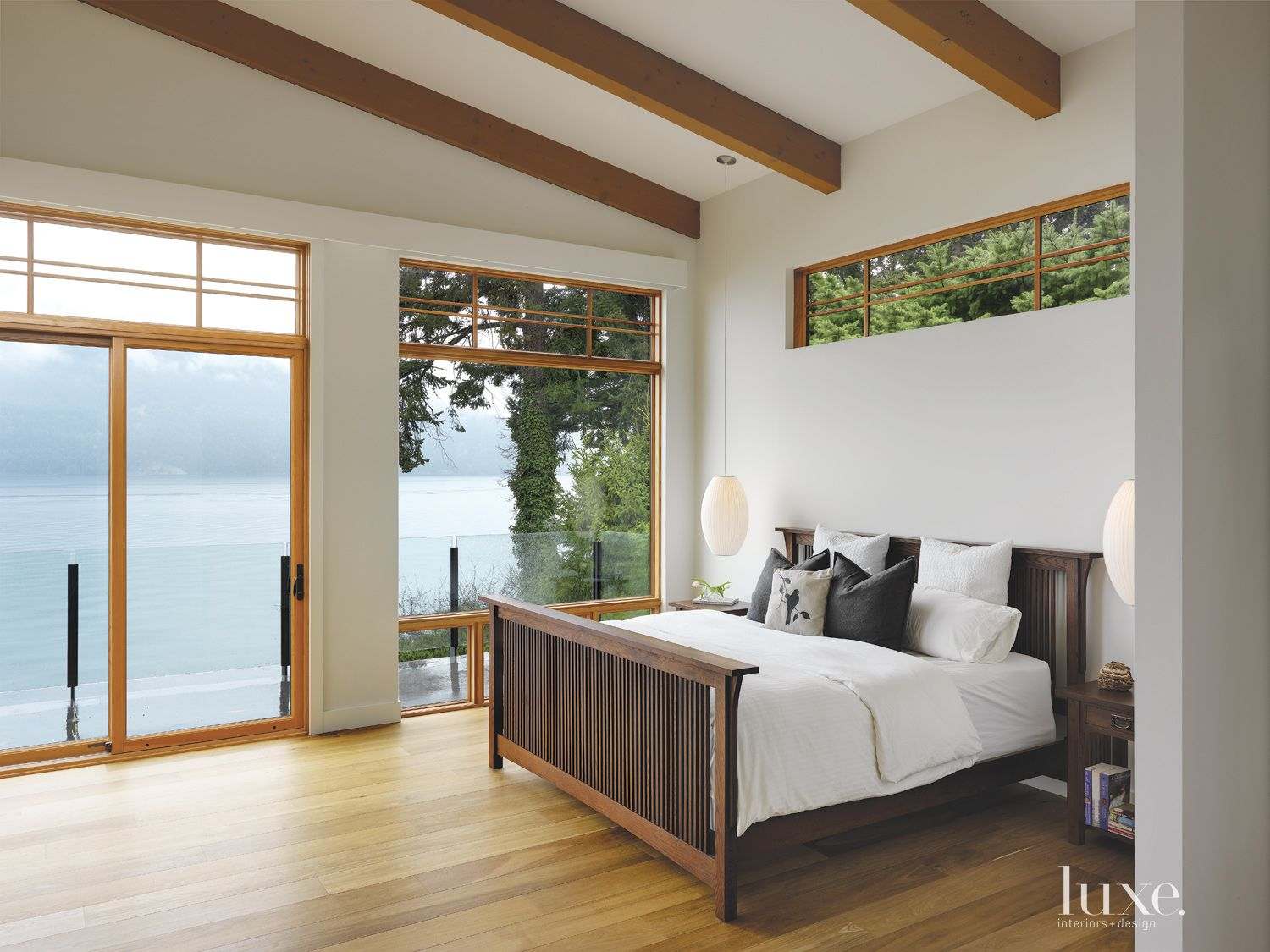 Contemporary White Bedroom with Ocean Views