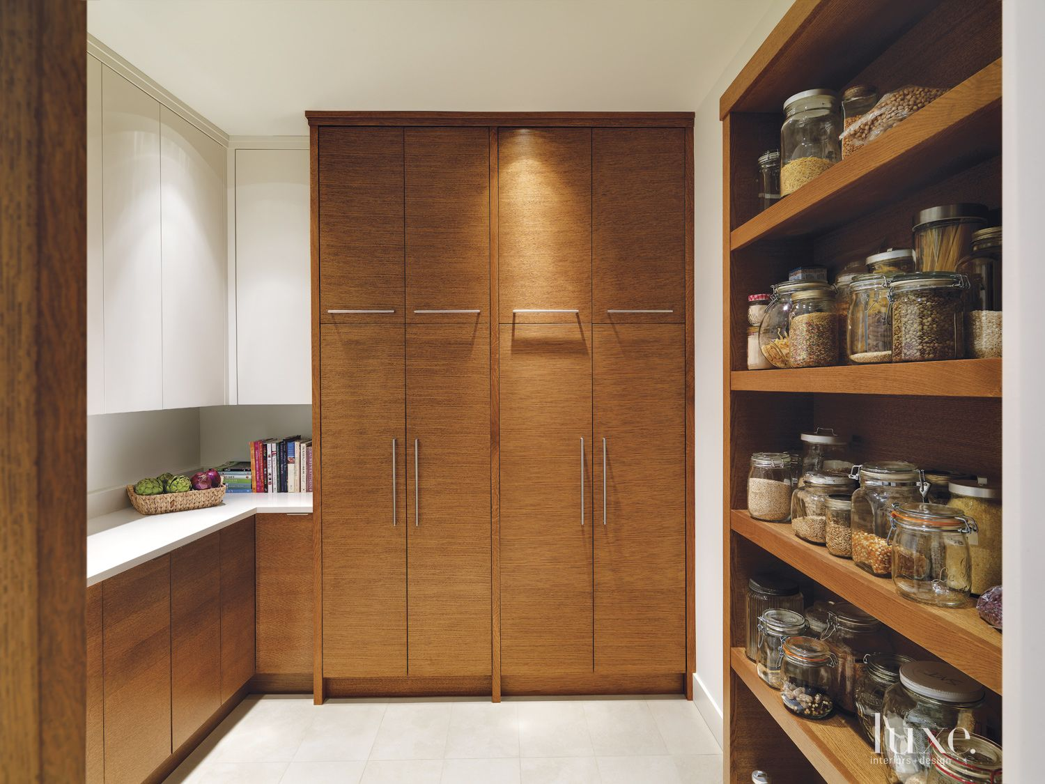 Contemporary White Pantry with Oak Cabinetry