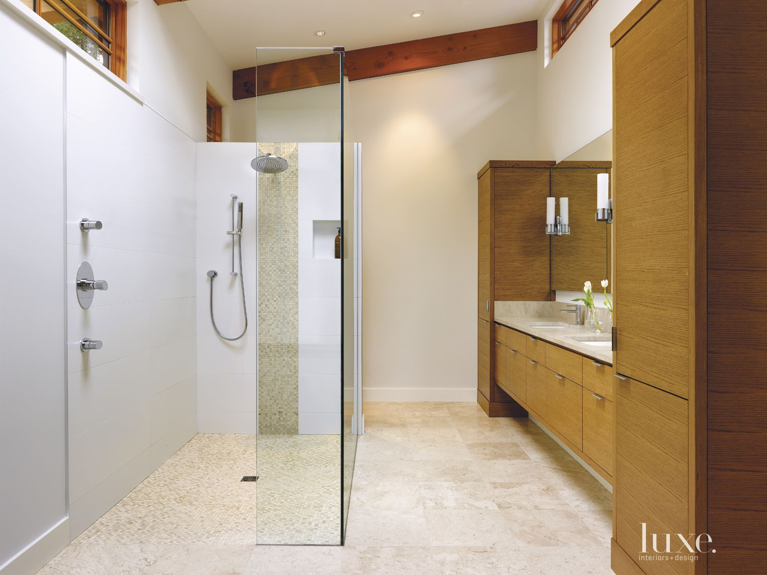 Contemporary White Bathroom with Travertine Floors