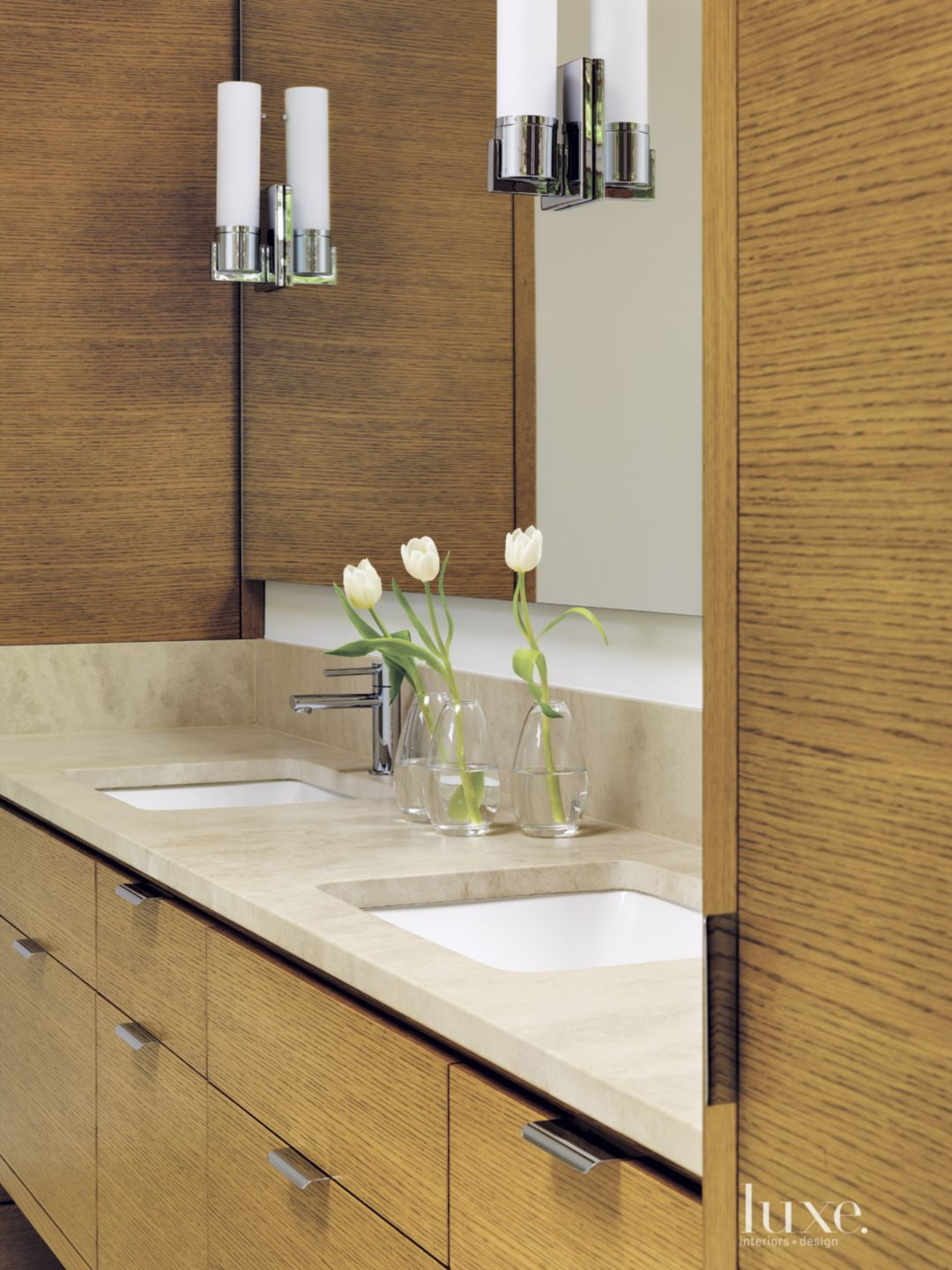 Contemporary Travertine Vanity with Oak Cabinetry