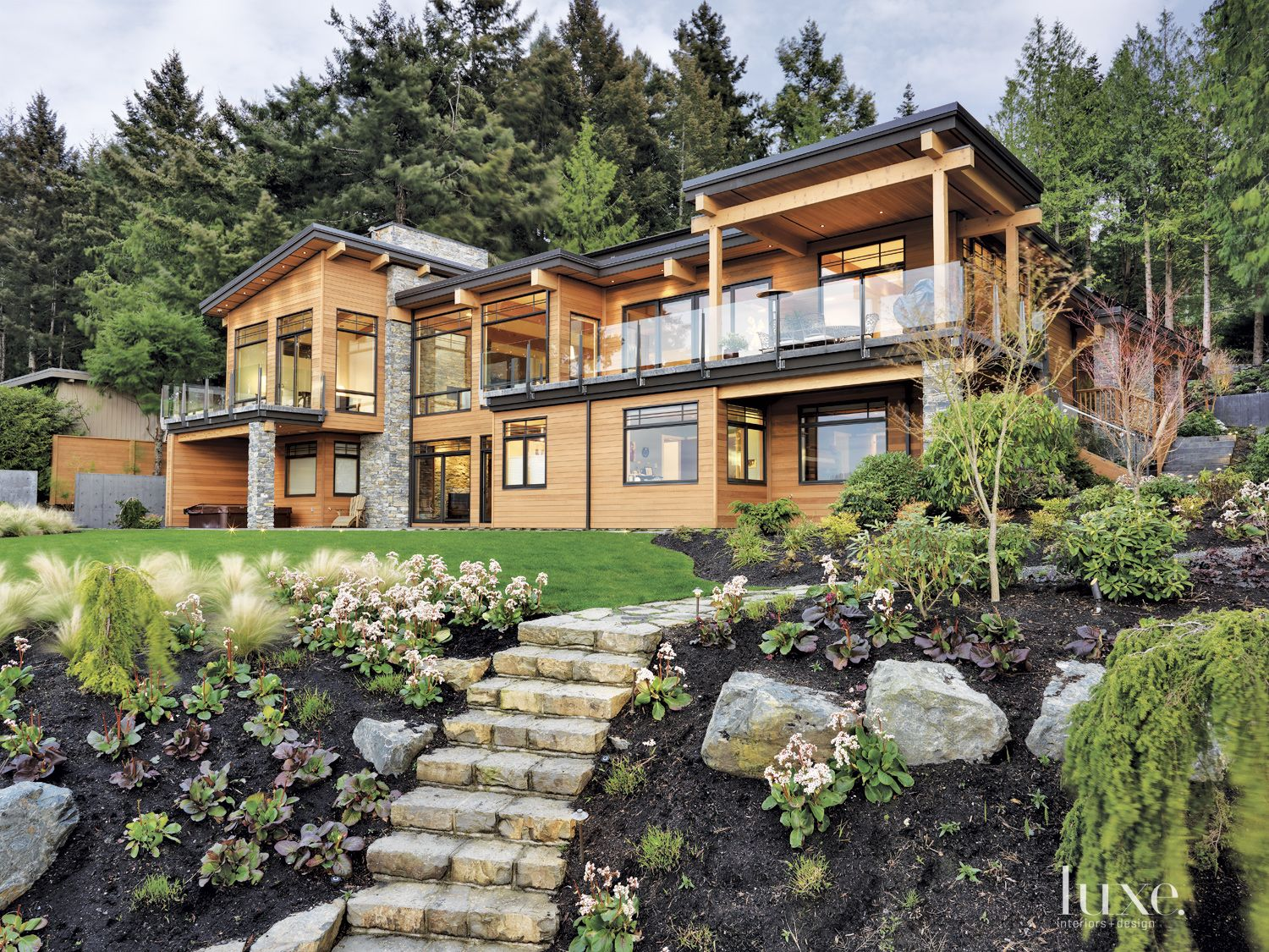 Contemporary Neutral Exterior with Cedar Facade
