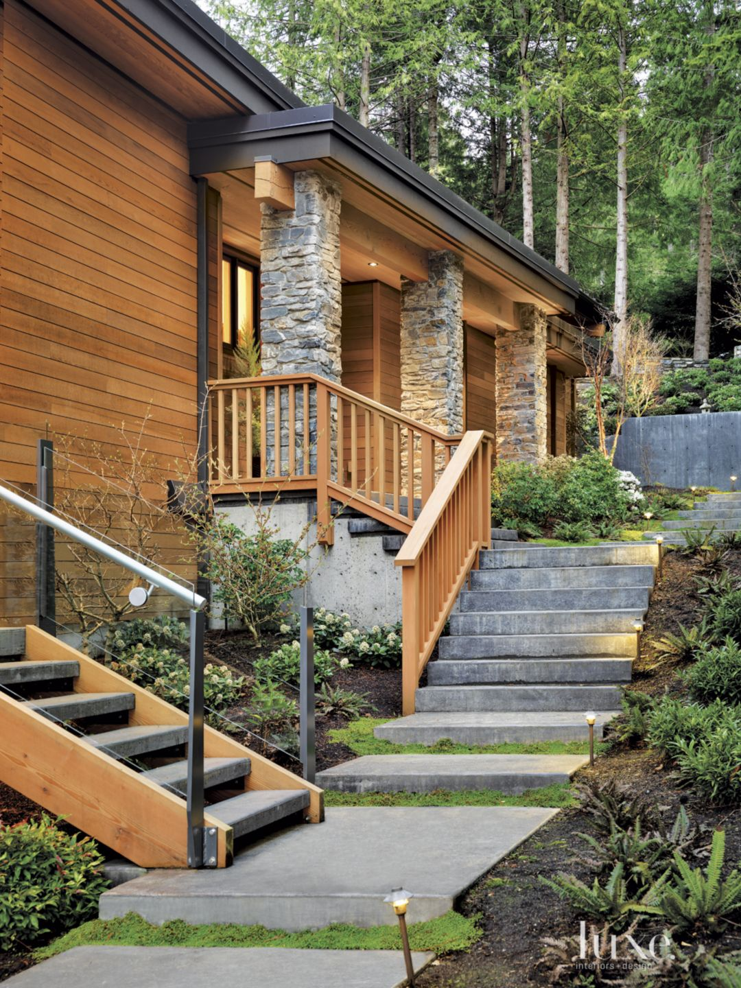 Contemporary Neutral Exterior with Stone Pillars