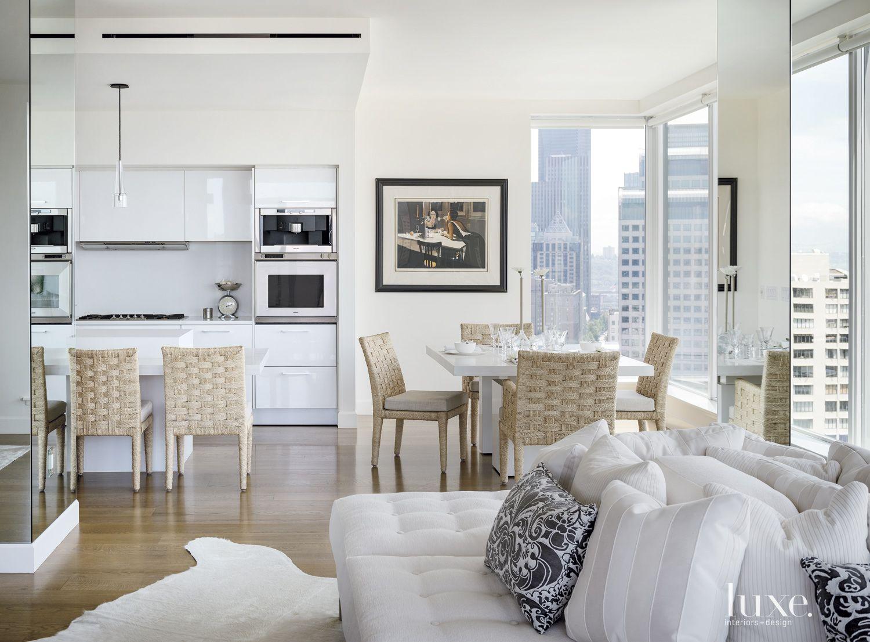 Modern White Kitchen and Breakfast Area